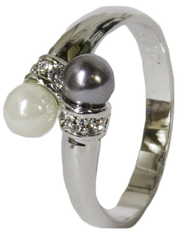 Women's Rhodium Plated Dress Ring Black and White Pearl Crystal 059