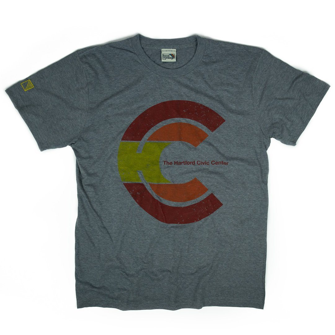 Hartford Civic Center T-Shirt Front Grey With Red Men's