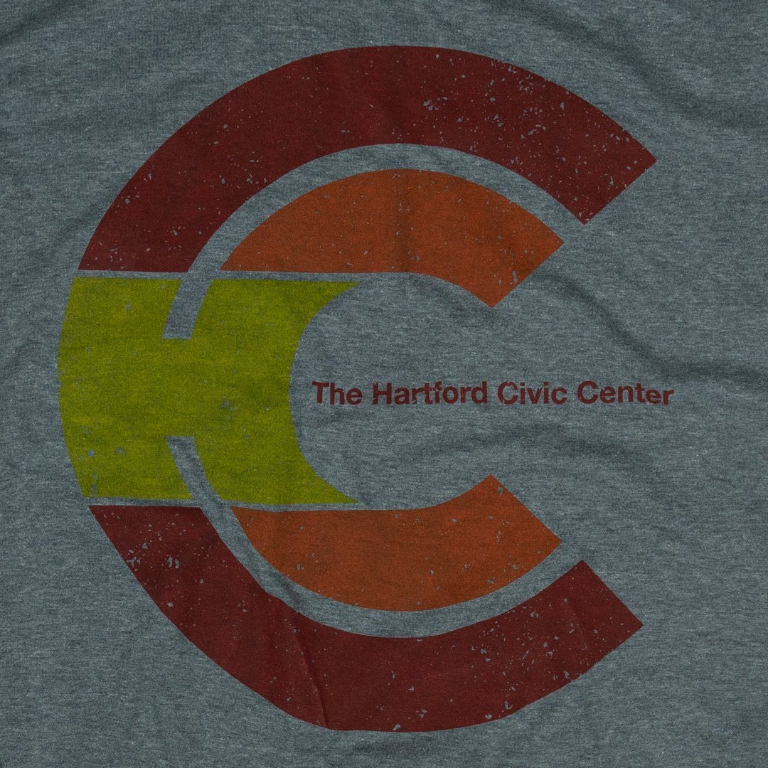 Hartford Civic Center T-Shirt Graphic Grey With Red Men's
