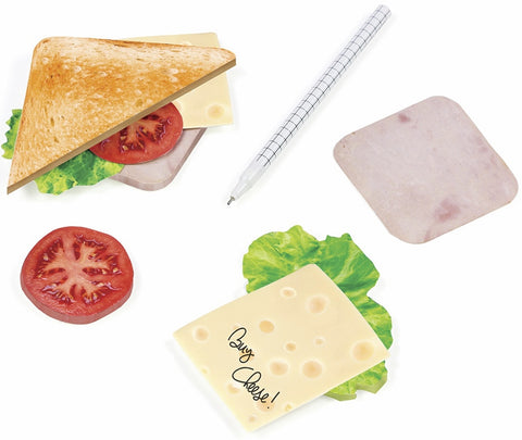 sticky notes notepad cheese lettuce ham tomato bread sandwich
