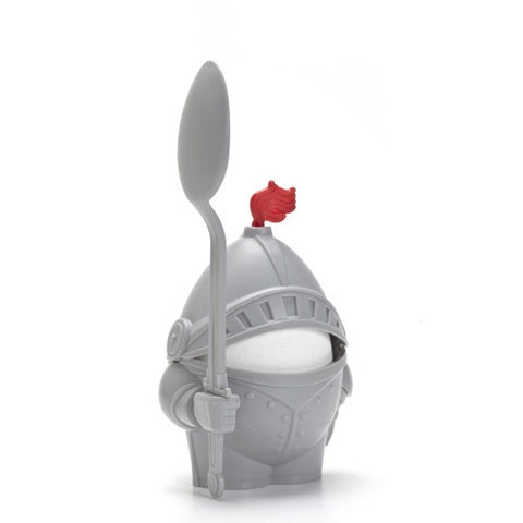 arthur egg cup knight with spoon soft boiled eggs white background