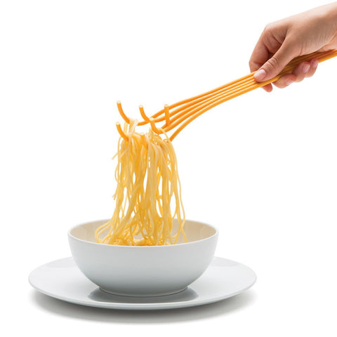 spaghetti shaped spaghetti spoon yellow pasta fork