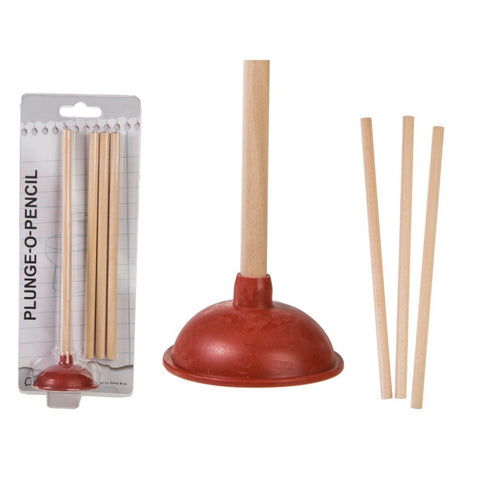 Plunger pencil holder desk office white background
