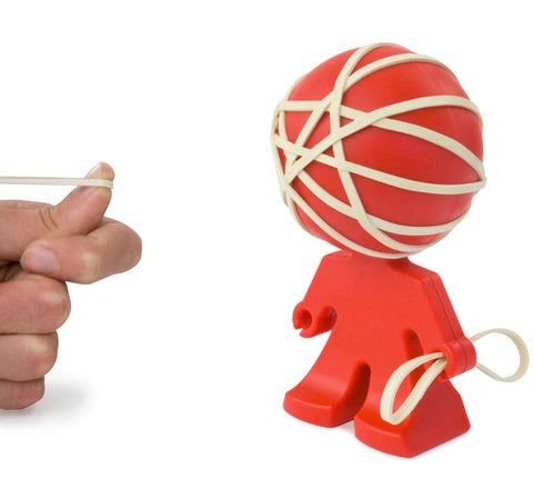 rafael rubber band holder head ball little red man