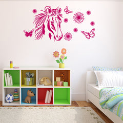 Flower Horse Decal-Wall Decals-Style and Apply