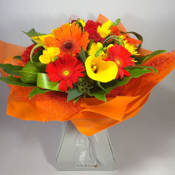 Red, Orange and Yellow Callas Gerberas Flowers in water box