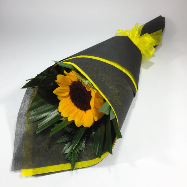 Single Sunflower with Black Wrap