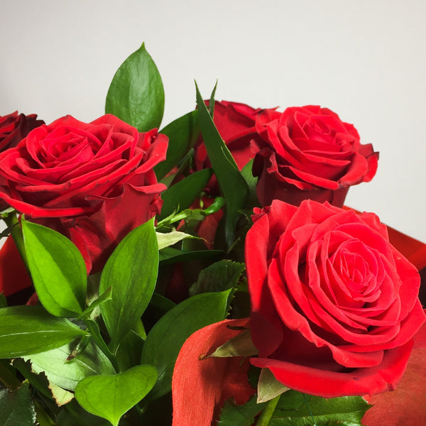 red rose petals and ferns for Porirua delivery