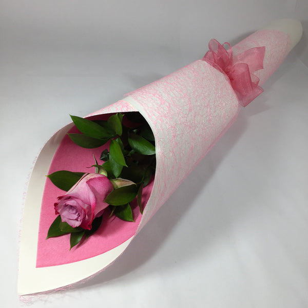Single Pink Rose with White Wrap