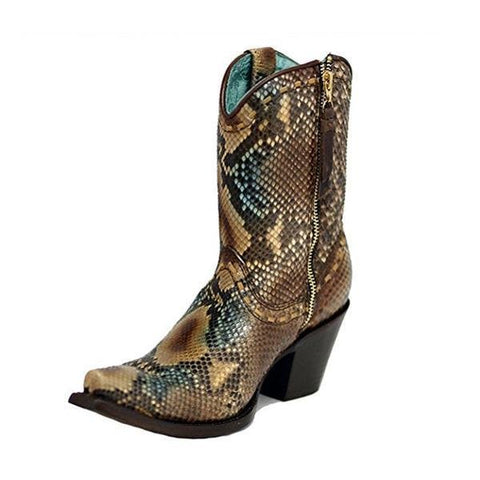 Corral Women's Python Snip Toe Short Boots - C2798