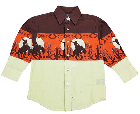 Panhandle Boys Scenic Border Print Long Sleeve Western Shirt C0S1125