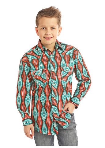 Rock and Roll Cowboy Long Sleeve Aztec Print Shirt, Brown