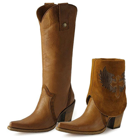 Corral Women's Cross Lizard Cuffed Pointed Toe Cowgirl Boots - C2213