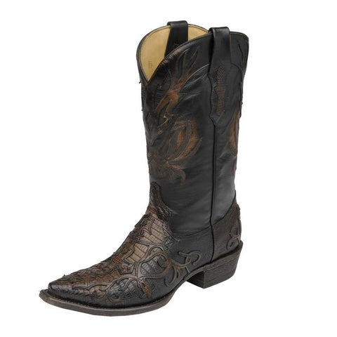 Corral Men's Teju Lizard With Fancy Cross Overlay Snip Toe Cowboy Boots - C1163