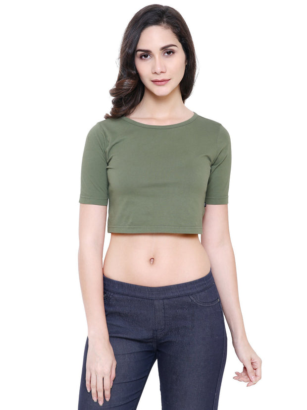 Olive Green Box Sleeve Organic Cotton Crop Top