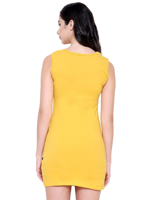 COA Yellow Organic Cotton Front Patch Pocket Dress