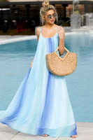 Polyester Pocketed Scoop Neck Beach Dress/Maxi Dress