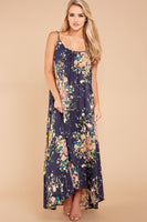 Strapless Rayon Dog Floral Print Sheer High-Low-Hem Party Dress/Maxi Dress