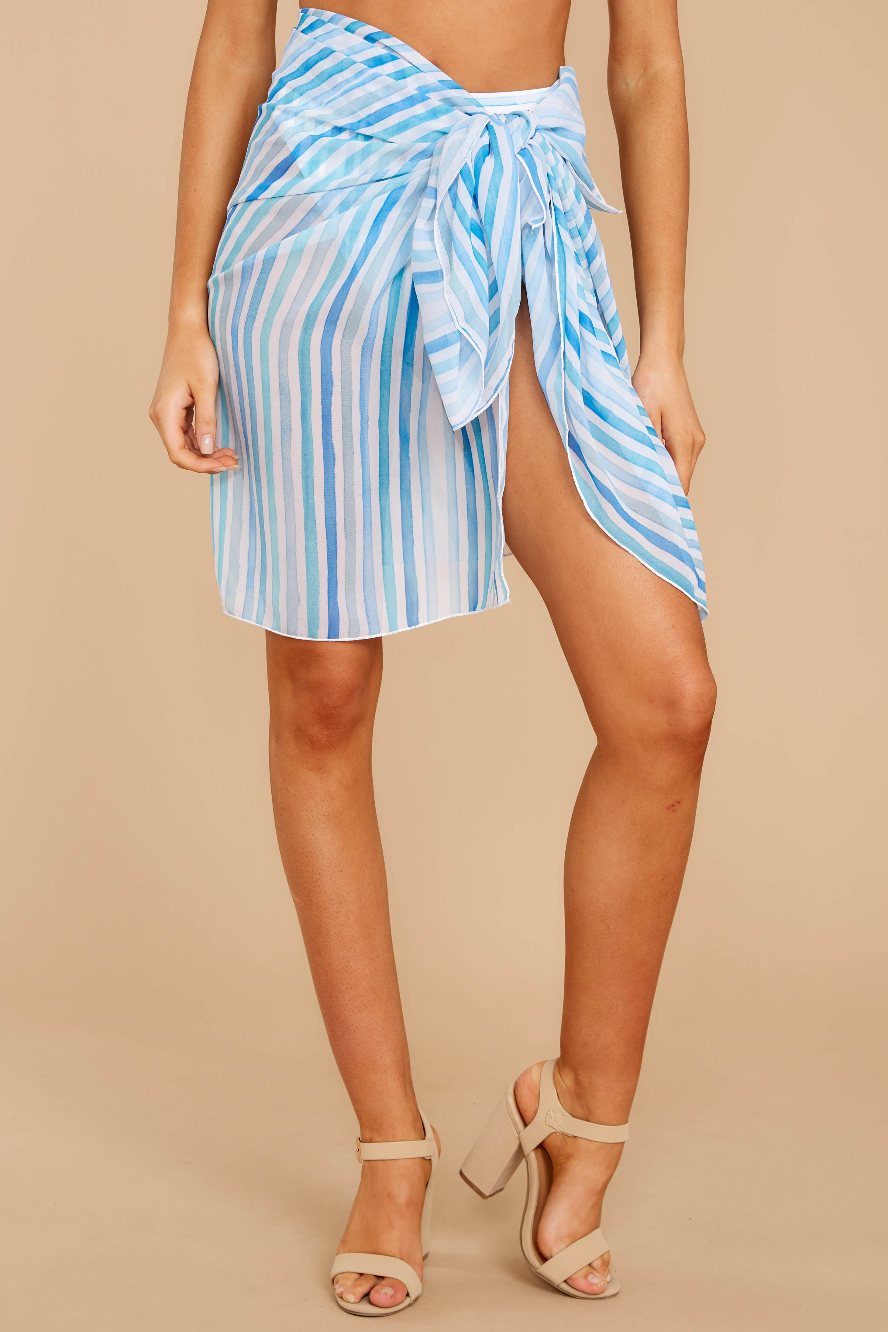 Tropic Trends Blue Multi Seaside Stripe Sarong