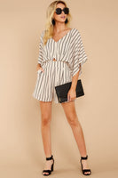V-neck Pleated Pocketed Cutout Hidden Back Zipper Darts Keyhole Striped Print Swing-Skirt Romper
