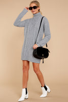 Sweater Long Sleeves Ribbed Turtleneck Dress