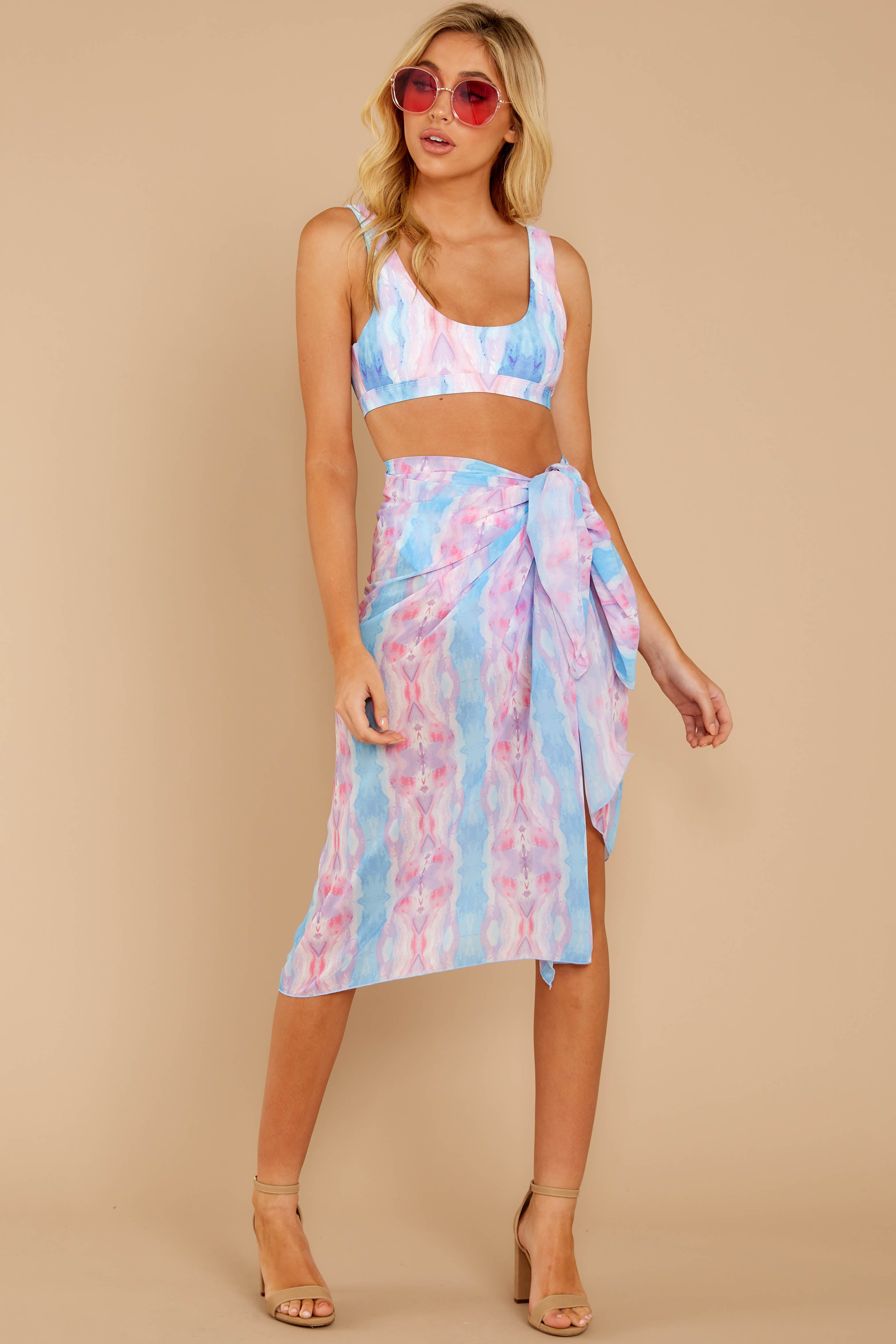 Tropic Trends Pink And Blue Seaside Sunrise Sarong