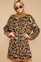 Animal Leopard Print Collared Turtleneck Sweater Acrylic Long Sleeves Dropped Shoulder Ribbed Evening Dress