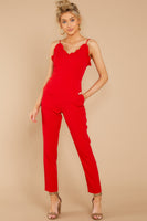 V-neck Polyester Princess Seams Waistline Darts Pocketed Hidden Back Zipper Jumpsuit With Ruffles