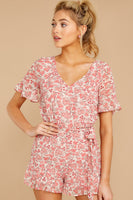 V-neck Flutter Sleeves Spring Darts Hidden Back Zipper Gathered Polyester Floral Print Romper