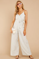 V-neck Summer Hidden Side Zipper Faux Wrap Belted Darts Striped Print Polyester Jumpsuit With a Bow(s)