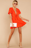 V-neck Fall Plunging Neck Darts Hidden Side Zipper Wrap Full-Skirt Dress