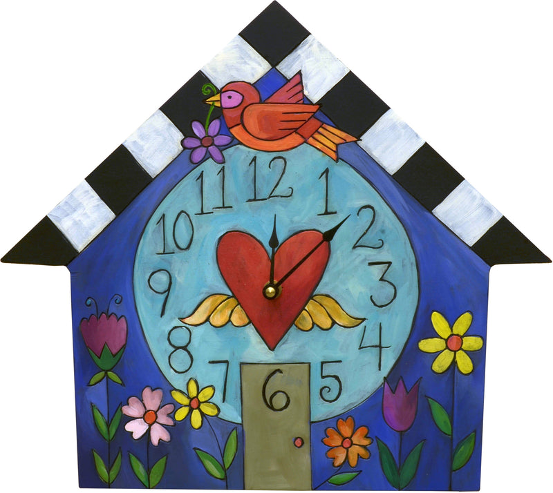 Sincerely, Sticks printed clock with a bird is perched on a home with flower beds out front, front view