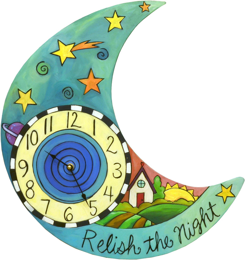 Sincerely, Sticks printed clock with the night sky appears above a landscape where the sun is setting on a home, front view