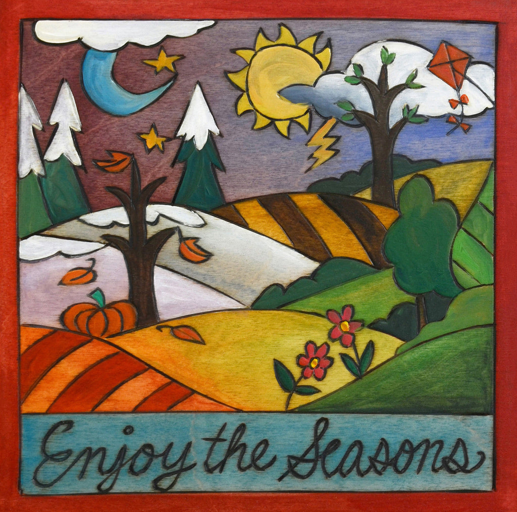 "Colorful Sincerely, Sticks printed plaque ""Enjoy the Seasons"", front view"