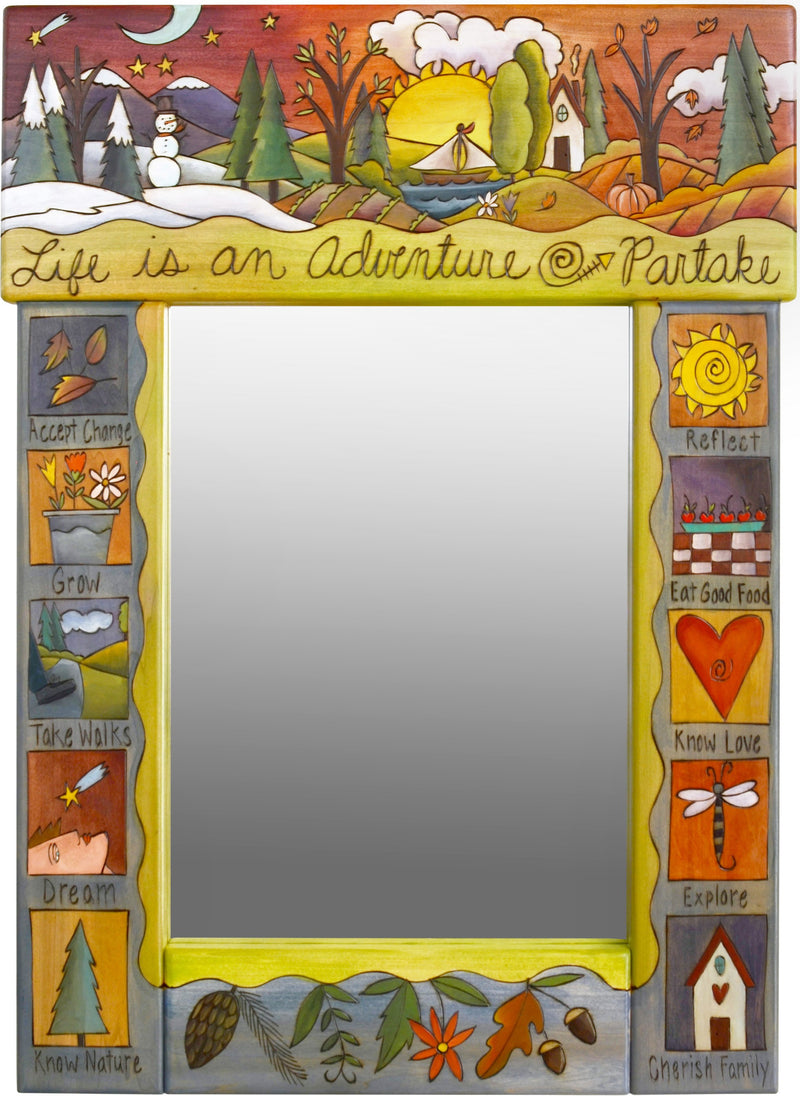 "Medium Mirror –  ""Life is an Adventure/Parktake"" mirror with moon rising in the winter and sun setting in the spring motif"