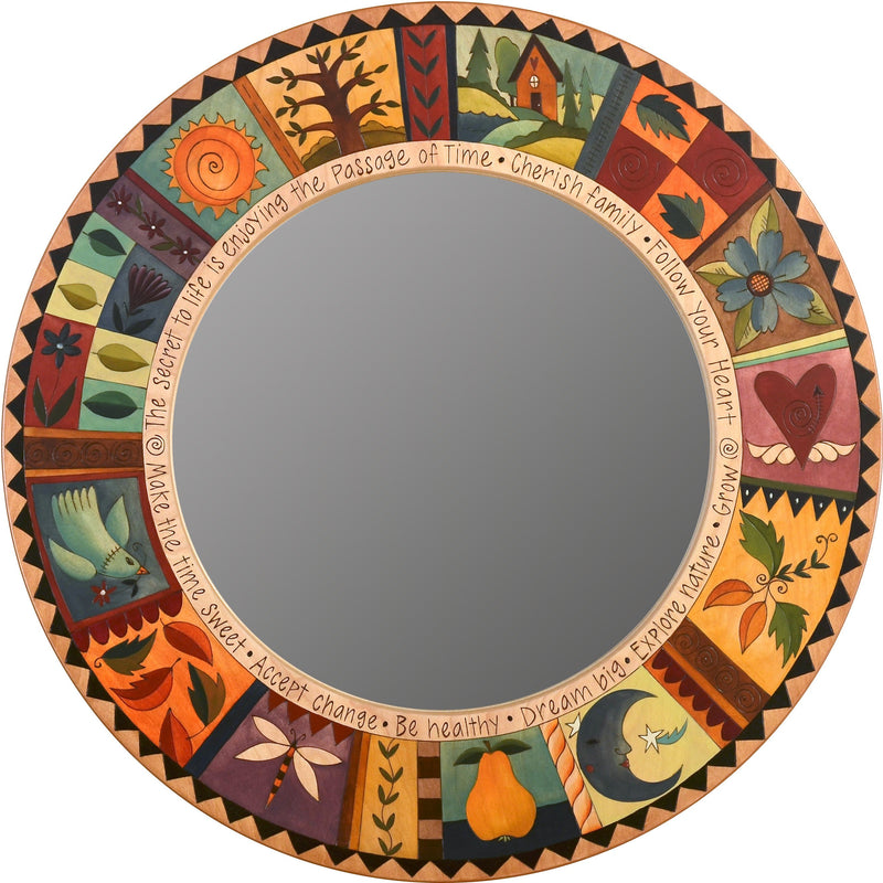 "Large Circle Mirror –  ""Make the Time Sweet"" circle mirror with nature motif"