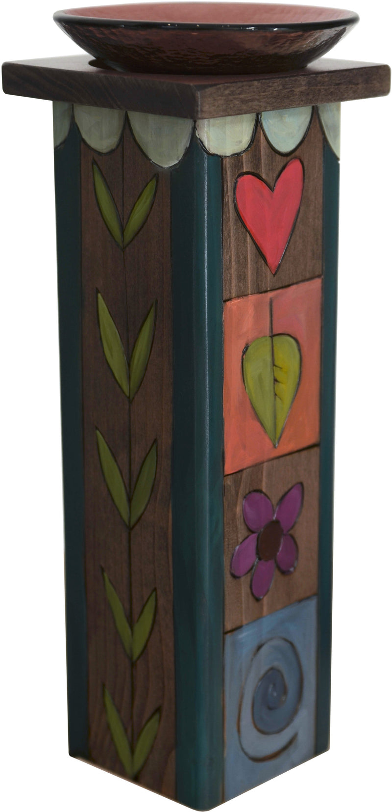 Large Pillar Candle Holder –  Elegant candle holder with rich hues and colorful block icons