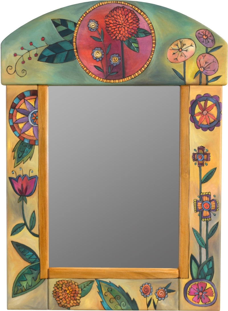 Medium Mirror –  Mirror with green/yellow background and floral motif