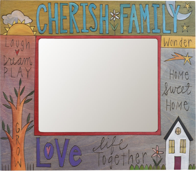"8""x10"" Frame –  ""Cherish Family"" picture frame featuring the word ""Love"" and other inspirational phrases"