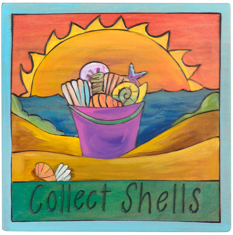 "7""x7"" Plaque –  A beachy sunset ""collect shells"" themed plaque"