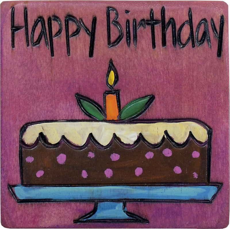 "Large Perpetual Calendar Magnet –  ""Happy Birthday,"" perpetual calendar magnet with chocolate cake and candle"