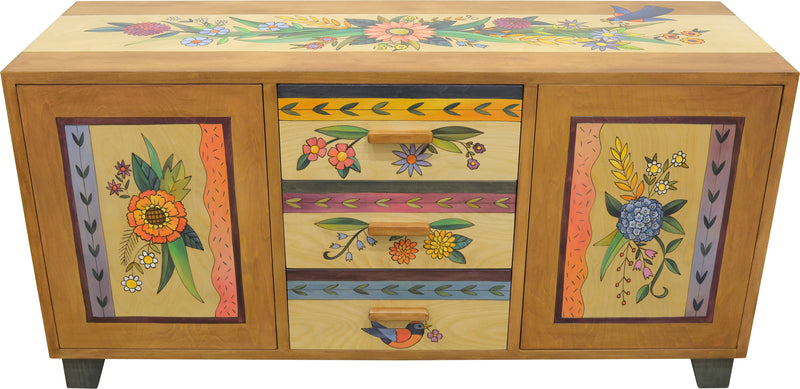 Credenza Buffet –  Gorgeous floral themed buffet design with floral sprays, birds, and vines