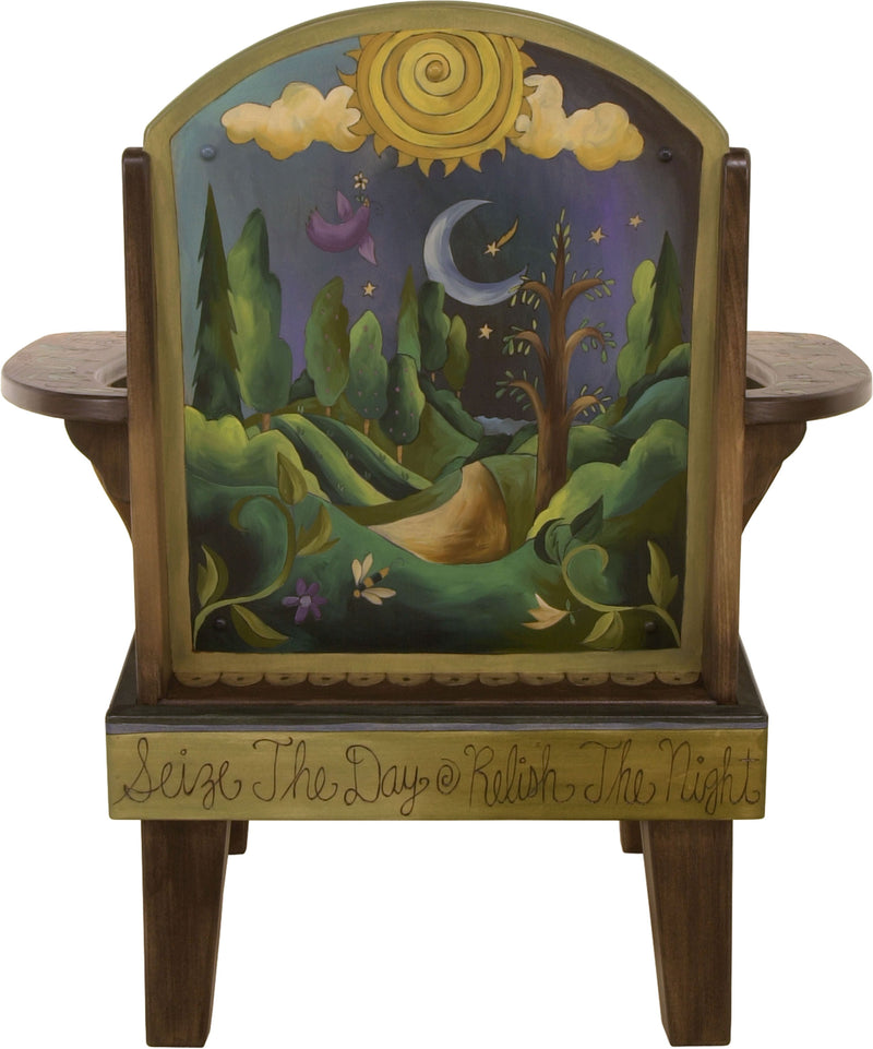 "Friedrich's Chair and Matching Ottoman –  ""Seize the Day/Relish the Night"" Friedrich's chair with ottoman with sun and moon over the rolling hills motif"