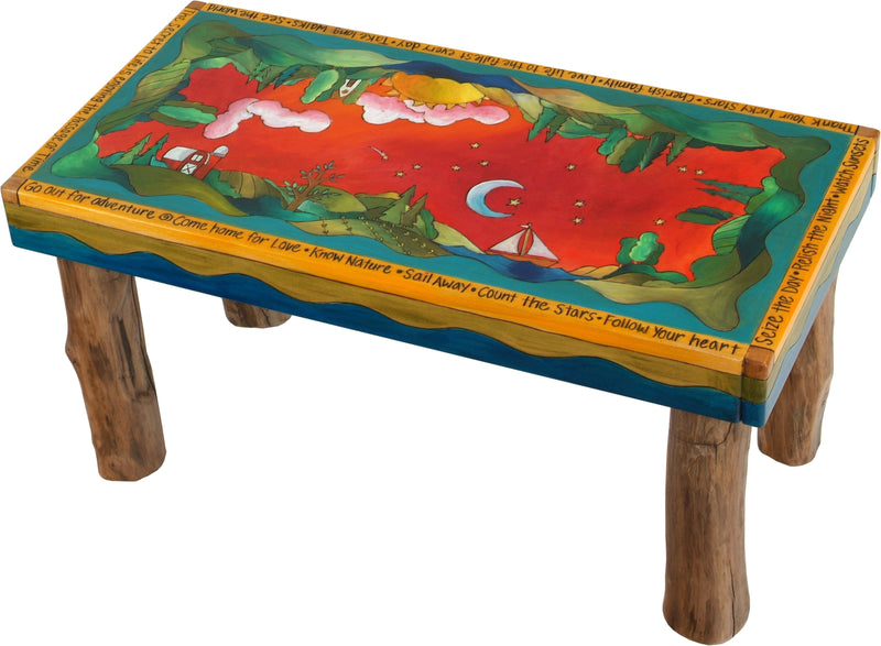 Sticks handmade 3' bench with rolling landscape and farm motif