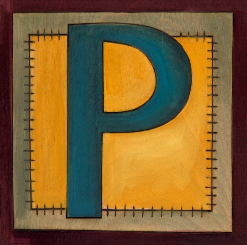 "Sincerely, Sticks printed letter ""P"" plaque, option 1"