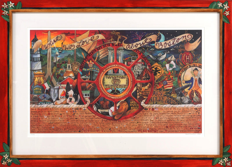 "Framed WWLA Boston Lithograph –  ""What We Love About Boston"" litho print in handcrafted Sticks frame"