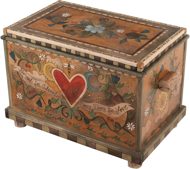 "Chest –  ""Go out for Adventure. Come Home for Love"" chest with heart and flower motif"