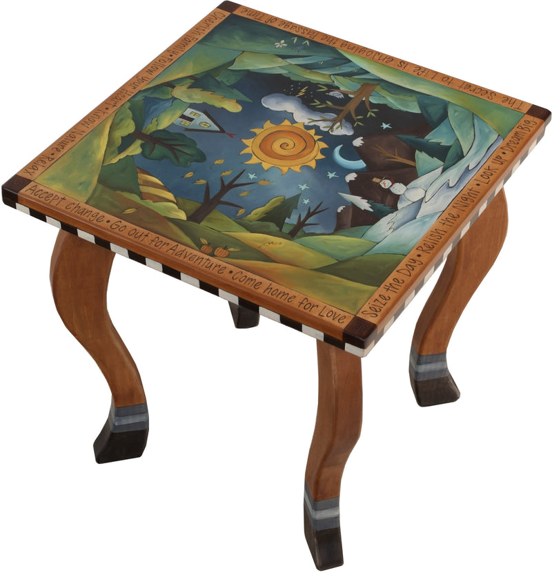Large Square End Table –  Beautiful end table with four seasons landscape painted in the round