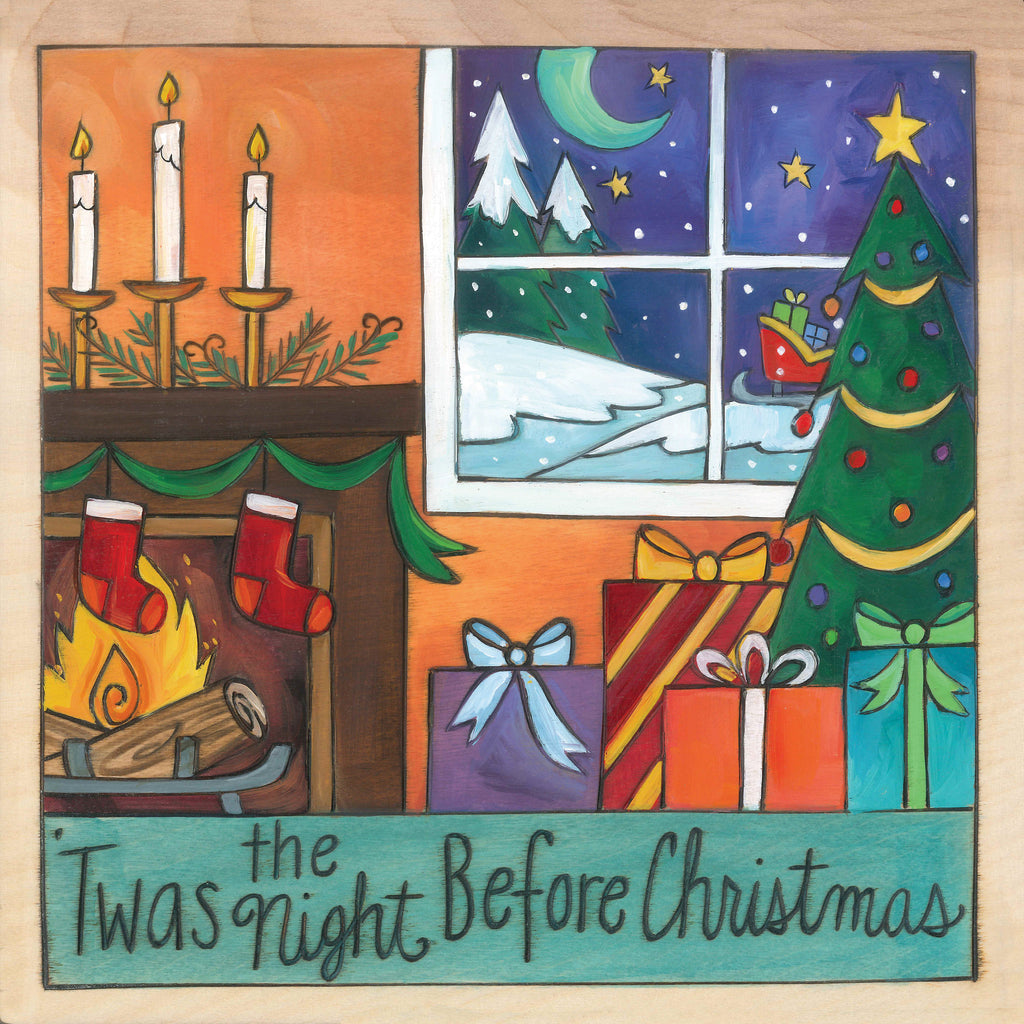 "Silent Night – ""'Twas the Night Before Christmas"" plaque with stockings on the fireplace and presents under the Christmas tree motif"