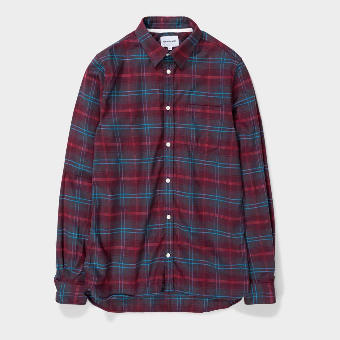 Norse Projects Hans Brushed Check Hermatite Red